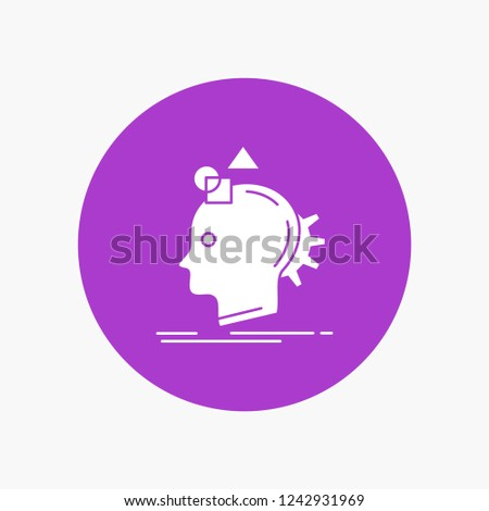 Imagination, imaginative, imagine, idea, process White Glyph Icon in Circle. Vector Button illustration