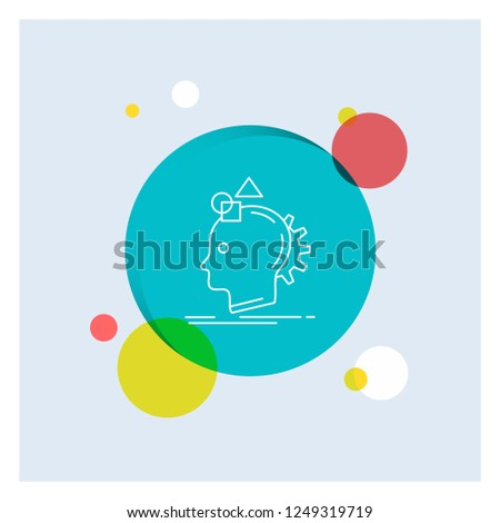 Imagination, imaginative, imagine, idea, process White Line Icon colorful Circle Background