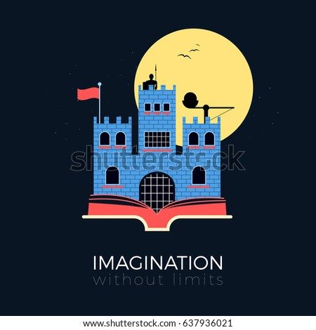 Stock Photo Imagination without limits: fantasy castle concept. Flat design vector illustration. Medieval fortress with knight, catapult and flag, standing on opened book. Isolated on black background.