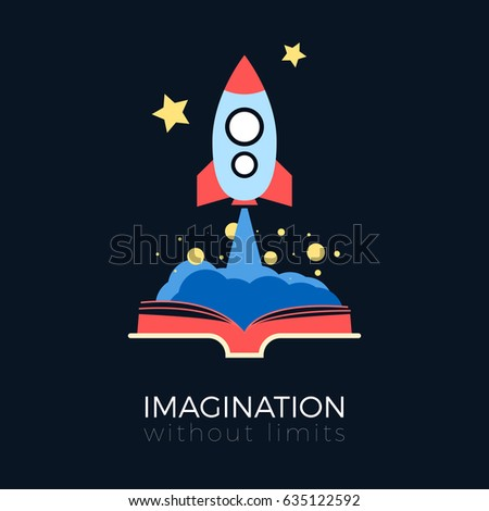 Stock Photo Imagination without limits: space exploration concept. Flat design vector illustration. Space rocket flying to stars from opened book. Simple and stylish, isolated on black background.