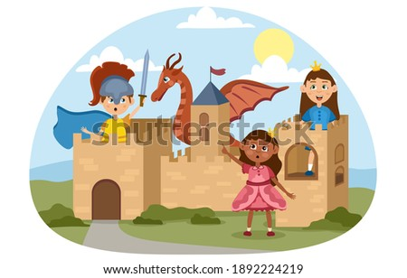Imaginative children play medieval knights and princesses in a cardboard castle they have made. Flat vector cartoon illustration Photo stock ©