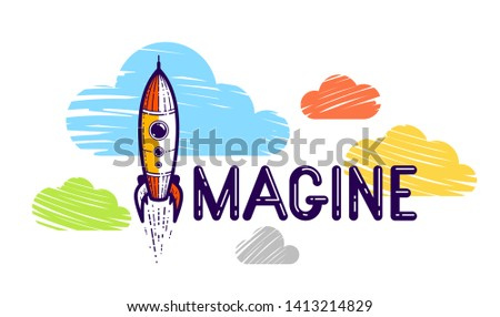 Imagine word with pencil instead of letter I and clouds, imagination and fantasy concept, vector conceptual creative logo or poster made with special font.