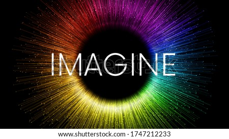 IMAGINE word written on black background with colorful rainbow streaks and glowing sparkling particles. Color explosion circle banner with place for your content Foto stock ©