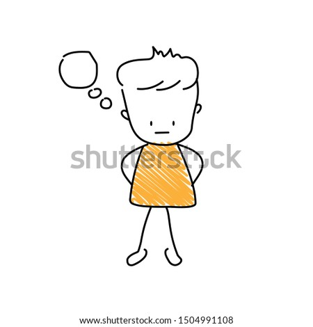 Imagining emoji character. Editable line imagine character.
