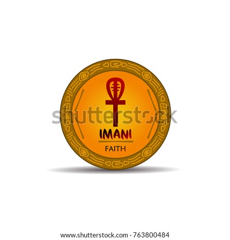 Imany - Faith  symbols of kwanzaa event. gold and etnic design full vector