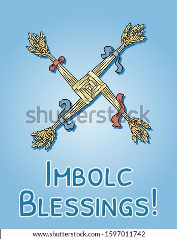 Imbolc Blessings beginning of spring pagan holiday postcard. Brigid's Cross symbol. Vector banner