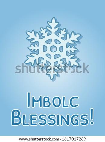 Imbolc Blessings beginning of spring pagan holiday postcard. Snowflake symbol. Vector flyer