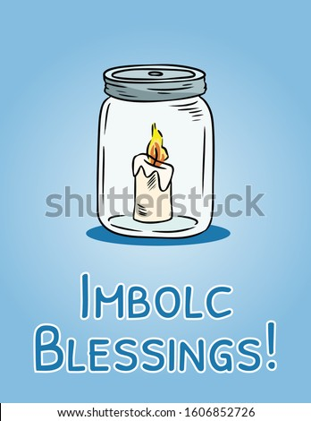 Imbolc Blessings beginning of spring pagan holiday postcard. White candle in mason jar symbol. Vector flyer