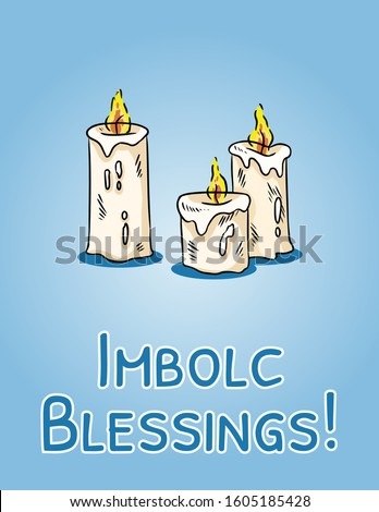 Imbolc Blessings beginning of spring pagan holiday postcard. White candles symbol. Vector banner