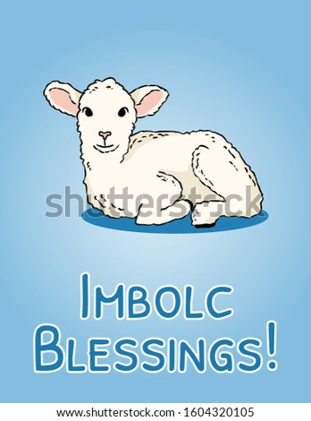 Imbolc Blessings beginning of spring pagan holiday postcard. White lamb symbol. Vector banner