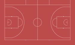 Imitation of a sports basketball court. Top view for easy use in strategy or background.