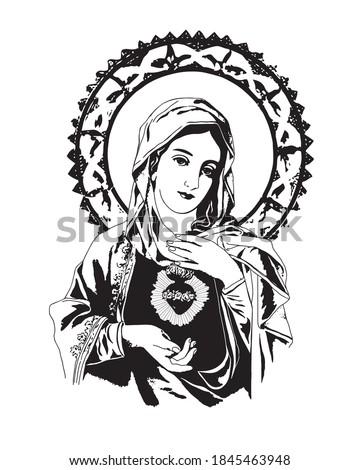 Immaculate heart of Virgin Mary catholic vector Illustration ストックフォト ©