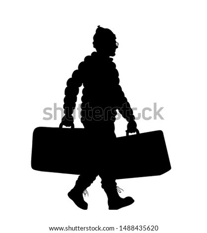 Immigrant man silhouette with valises. The silhouette objects and background are in different layers.