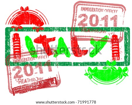 Immigration Stamp - Italy - Vector Graphic