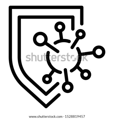 Immune shield protection icon. Outline immune shield protection vector icon for web design isolated on white background Foto stock ©