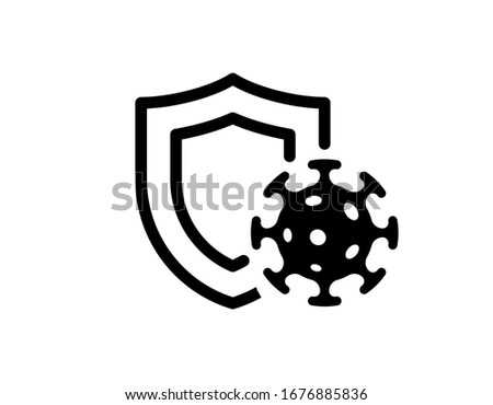 Immune system concept. Hygienic medical black shield protecting from coronavirus COVID-19 icon. Human immunity sign. Corona virus defense symbol vector isolated illustration Stok fotoğraf ©