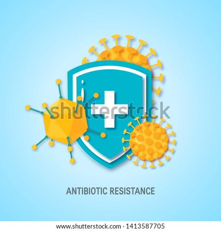 Immune system concept. Medical shield surrounded by viruses and bacterium in paper cut style, vector Stok fotoğraf ©