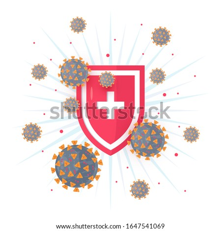 Immune system concept with medical shield. Bacterial and virus defense. Wuhan 2019-nCoV icon. Vector illustration in flat style for medical designs, infographics.