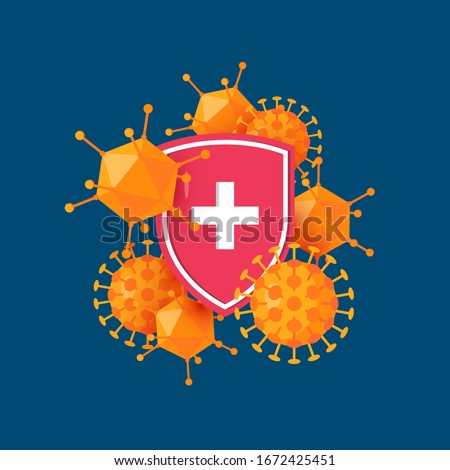 Immune system icon. Antibacterial concept with a medical shield and bacteria or virus. Vector illustration in cartoon style. Stok fotoğraf ©