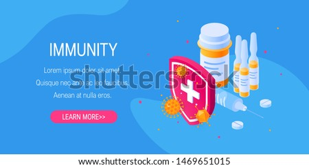 Immunity concept for designs, banners, posters etc. Medicine behind a shield that has been attacked by bacteria or viruses. Vector illustration in isometric view