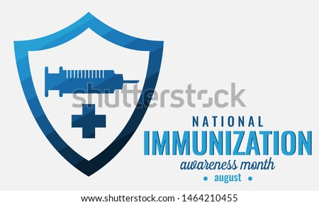 Immunization awareness month card or background. vector illustration.