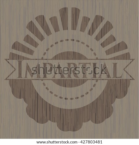 Impartial badge with wooden background