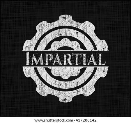 Impartial chalk emblem, retro style, chalk or chalkboard texture