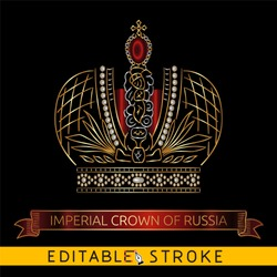 Imperial Crown of Russia. Gold icon on black background. Golden ribbon or banner include. Easy changing vector with editable strokes.