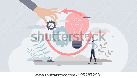 Implementation process or innovation integration work tiny person concept. Improvement execution and optimization management vector illustration. Novelty apply and activation in manufacturing business