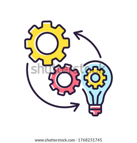 Implementation RGB color icon. Technical development. Optimization of mechanical production process. Connection of cog wheel in machine. Smart management. Isolated vector illustration Сток-фото ©