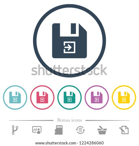 Import file flat color icons in round outlines. 6 bonus icons included.