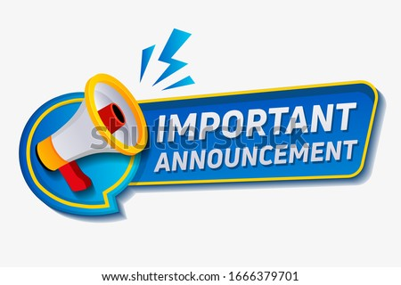 Important announcement. Warning Megaphone Tag. megaphone with an important speech bubble. Speaker. Banner for business, marketing and advertising