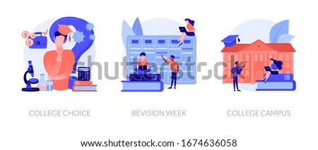 Important decision making, higher education institution choosing, student lifestyle icons set. College choice, revision week, college campus metaphors. Vector isolated concept metaphor illustrations Photo stock ©