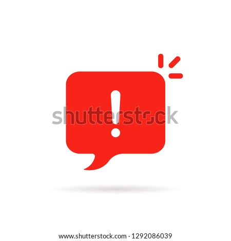 important icon like red attention sign. flat cartoon web style modern sms logotype graphic simple design infographic element isolated on white. concept of hazardous assess or urgent online message