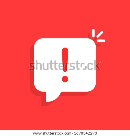 important message like white speech bubble. concept of stop label and urgent information. cartoon trend modern sms inform logotype graphic mobile application simple design isolated on red background Photo stock ©
