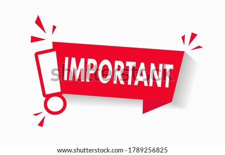 Important notice icon for attention message banner red vector illustration. Caution information warning mark. Important announcement label with red exclamation sign. Urgent alert popup template. V1 Stock photo ©