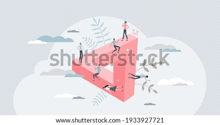 Impossible challenge as business problem without solution tiny person concept. Complexity and hopeless struggle for company teamwork project vector illustration. No way for success or goal achievement Сток-фото ©