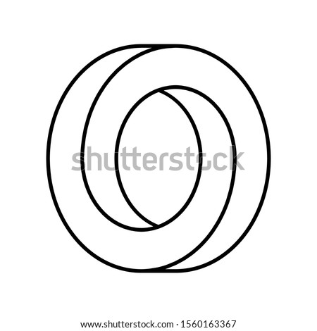 Impossible circle shape. Optical illusion. Linear infinite circular shape. Interlocking circles outline on white background. Abstract endless geometric loop. Letter O or ring. Vector illustration.