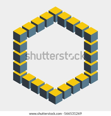 Impossible figure constructed of cube blocks. Mathematical object with mental trick. Isometric 3d design. Optical illusion of brain. Symbol with three-dimensional effect. Imp art. Visual paradox maze