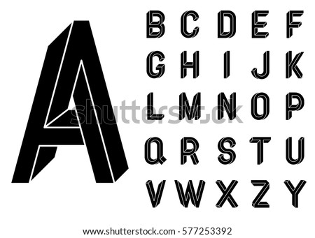 Impossible Geometry letters. Impossible shape font. Low poly 3d characters. Geometric font. Isometric graphics 3d abc. Black letters on a white background. Vector illustration 10 eps.