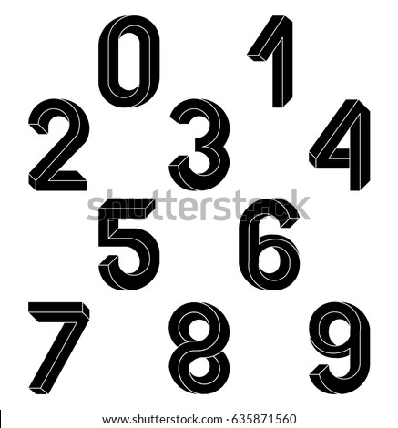 Impossible Geometry  numbers. Impossible shape font. Low poly 3d characters. Geometric numbers. Isometric graphics 3d 1,2,3. Black numbers  on a white background. Vector illustration 10 eps.