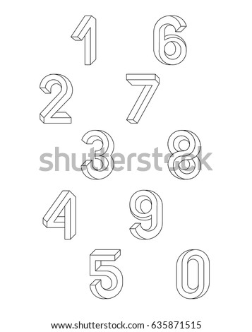 Impossible Geometry numbers. Set of vector numbers constructed on the basis of the isometric view. Impossible shape, optical illusion. Sacred geometry. Vector illustration 10 eps.