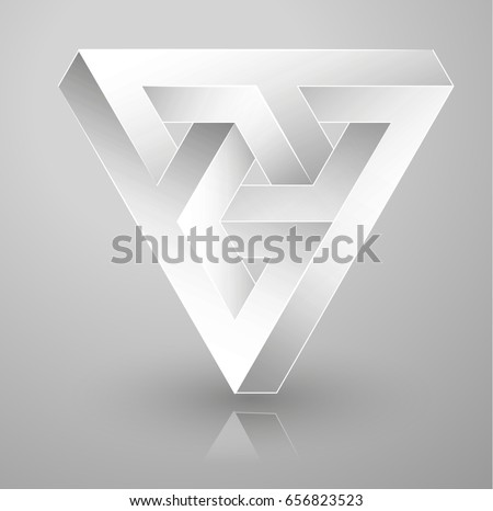 impossible geometry. Optical illusion triangle. Vector Illustration isolated on white. Sacred geometry. Futurism.