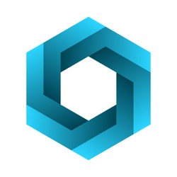 Impossible hexagon sign. Optical illusion. Blue gradient six sided polygon. Abstract symbol, impossible geometry on white background. Unreal geometric shape. Hexagonal logo design. Vector illustration