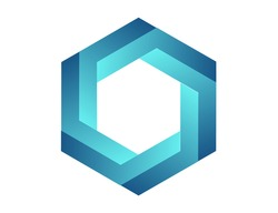 Impossible polygon. Penrose optical illusion. Blue gradient endless hexagon shape. Abstract infinite geometric object. Impossible eternal figure. Isolated on white background. illustration