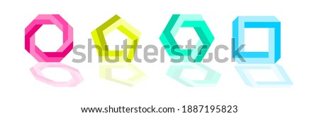 Impossible polygon shapes. Penrose optical illusion. Colourful endless polygon shapes. Abstract infinite geometric objects. Impossible eternal figures. Isolated on white background. illustration