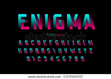 Impossible shape font design, alphabet letters and numbers vector illustration