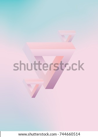 Impossible shapes on gradient mesh vector background. Funky party poster template with pastel colors. Eps10 vector illustration.