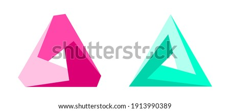 Impossible shapes. Penrose optical illusion.  Three dimensional triangular shapes. Abstract infinite geometric object. Web design elements. Isolated on white background. Vector illustration.