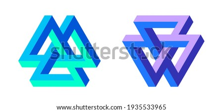 Impossible shapes. Penrose optical illusion.  Triangular shape. Abstract geometric objects. Web design elements. Isolated on white background. Three dimensional design. Vector illustration.